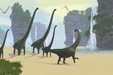 A Mamenchisaurus Dinosaur Herd Grazing Along a Lake