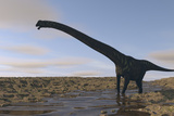 Large Mamenchisaurus Walking Along a Dry Riverbed