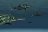 Stenopterygius Ichthyosaurs Swimming Underwater