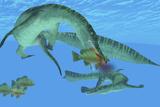 Mesosaurus Attacks a Mangrove Red Snapper Fish
