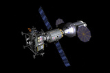 An Asteroid Lander Is Docked to a Deep Space Vehicle