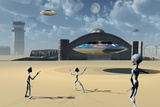 Grey Aliens and their Flying Saucers at Area 51