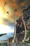 Two Omeisaurus Dinosaurs Walking Along a Steep Cliff