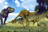 Tyrannosaurus Rex Surprising a Herd of Gallimimus Dinosaurs