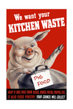 Vintage World Ware II Poster Featuring a Pig Standing with a Garbage Can