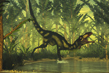 Dilong Dinosaur Running Through a Forest