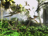 A Flock of Pterodactylus Reptiles Fly over the Jungle Searching for their Next Meal