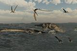 Tylosaurus Attacks a Styxosaurus in Cetaceous Waters