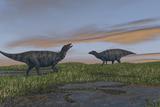 Shuangmiaosaurus Dinosaurs Walking Through Wetlands