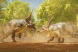 Two Diabloceratops Dinosaurs Fight for Mating Rights