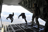 Paratroopers with the Spanish Military Jump from a C-130J Super Hercules