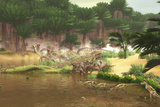 Dinosaurs Grazing Along a Cretaceous River