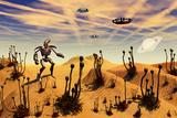 A Robot Tending to a Desert Garden Located on a Moon
