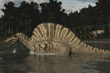 Spinosaurus Hunting for Fish in a Lake