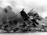 Uss Arizona Burning after the Japanese Attack on Pearl Harbor