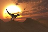 A Carnivorous Allosaurus Calling Out across a Desert Landscape