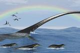Elasmosaurus Tries to Capture a Dolichorhynchops Reptile