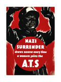 English World Ware II Poster Featuring a Nazi Soldier Raising Hands in Surrender