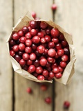 Cranberries in Paper Bag (Overhead View)