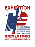 Vintage Wpa Poster Features a Red  White  and Blue Eagle