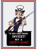 Vintage Poster of Uncle Sam Holding a Rifle and Holding Out a Liberty Bond