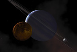 A Ringed Gas Giant Exoplanet with Moons