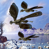 Archaeopteryx Birds Fly Near a Shoreline on a Cloudy Prehistoric Day