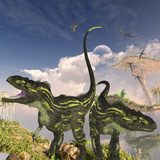 Torvosaurus Dinosaurs on a Cliff Searching for Prey