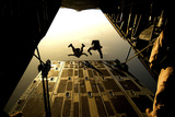 US Air Force Pararescuemen Jump from an Hc-130 Aircraft Off the Coast of Djibouti