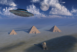 A Ufo Flying over the Giza Plateau in Egypt