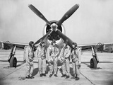 Test Pilots Stand in Front of a P-47 Thunderbolt