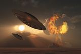 A Pair of Ufo's with a Nuclear Explosion in Background