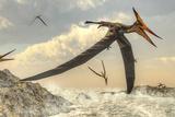 Pteranodon Bird Flying Above Ocean