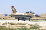 An Israeli Air Force F-16AB Netz Taxiing at Nevatim Air Force Base
