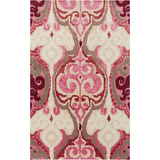 Banshee Victorian Print Area Rug - Hot Pink/Cherry 5' x 8'