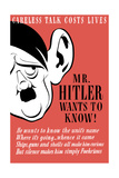 Vintage World Ware II Poster Featuring a Caricature of Adolf Hitler with a Giant Ear