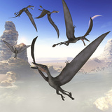 A Group of Dorygnathus Predatory Reptiles Fly Above a Jurassic Landscape