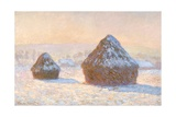 Haystacks  Snow Effect  Morning by Claude Monet