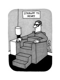 Stairway to Henry -- a Man sitting in a sofa chair has a body comprised  f - New Yorker Cartoon