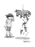 A boy watches as the piñata he just hit drops Trojan soldiers from its tor - New Yorker Cartoon