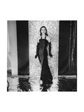 Model Anne St Marie Earing Straight Halter-Neck Velvet-And-Moire Gown and Long Gloves