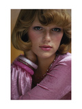 Duplicate- Head Shot of Model Patti Hansen Wearing Pink Alley Cat by Betsey Johnson