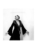 Katharine Cornell  Actress  Wearing Black Gown with Fur Collar Designed by Cecil Beaton