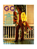 Couple on Porch  Male Model Wearing an Esquire Sportswear Corduroy Suit
