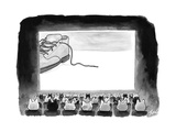 A movie theater audience of all cats watches a zoomed in shot of a sneaker - New Yorker Cartoon