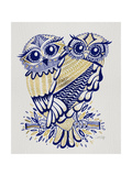Owls in Navy and Gold