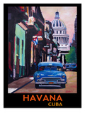Cuban Oldtimer Street Scene In Havanna Cuba With Buena Vista Feeling Poster 1