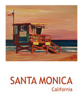 Santa Monica Beach Scene California Poster