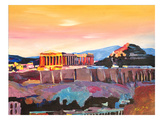 Athens Greece Akropolis At Sunset Neu