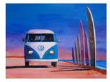 Blue White VW Surf Bus T1 Kombie Bulli At Surf Board Road